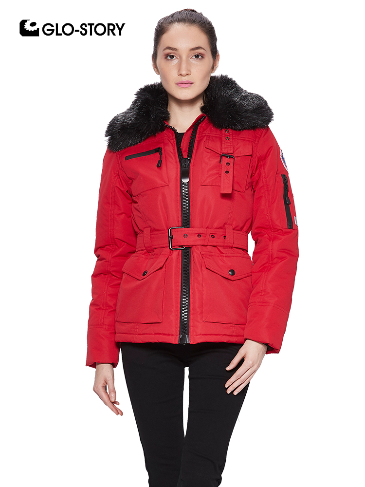 GLO-STORY Women's Winter Thick Padded Military Jackets Coats Woman 2018 New Streerwear Fleece Liner   Parkas   with Fur and Sashas