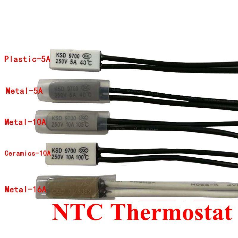 1PCS Thermostat 10C-240C KSD9700 40C 45C 50C 55C 60C 65C Bimetal Disc Temperature Switch N/O Thermal Protector Degree Centigrade