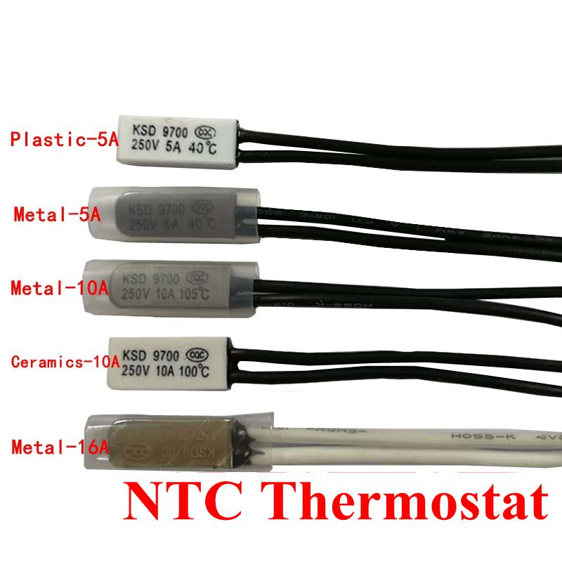 2x KSD9700 125°C NC Thermostat Temperature Control Switch Bimetal 250V 5A N.C 68