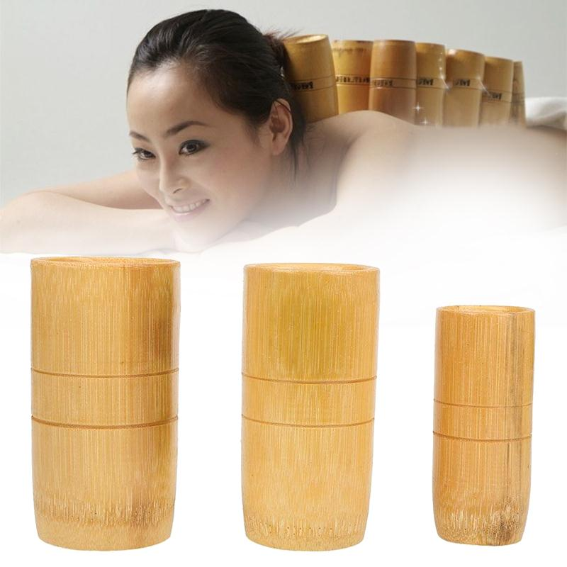 3pcs/set Traditional Chinese Bamboo Suction Cups Acupuncture Massage Fire Cupping Set Therapy Cellulite Set huanqiu traditional bamboo cupping set 3 bamboo jars free shipping