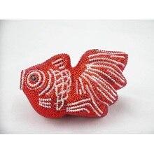 RED Crystal FISH lady fashion Wedding Bridal Party Night Metal Evening purse Clutch bag case box handbag