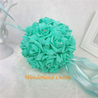 38cm 12Color Wedding Artificial PE Rose Kissing Ball Rose Flower Ball Pomander Bouquet Ball Home Decorative Balls