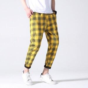 Image 2 - Drop Shipping Autumn Men Plaid Pants Casual Trousers Man Cotton Slim Fit Men Skinny Grid Joggers LBZ09