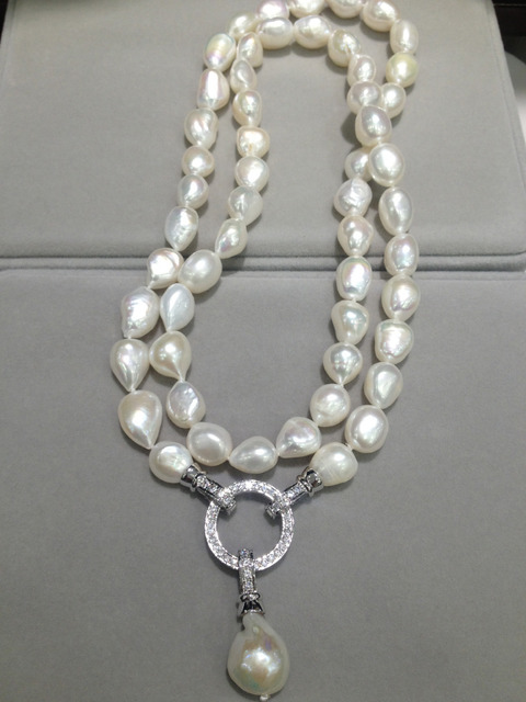 Multi wear Long FreshWater Pearl Necklace  Natural 10-11MM 80CM Baroque  Long Pearl Necklace Fashion Women Jewelry