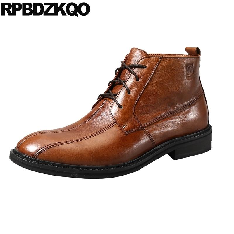 Piel Alta Marrón Diseñador Para Masculino Vestir Completo Zapatos Grano De Tobillo Botas Botines Boda Al wYzTWRx