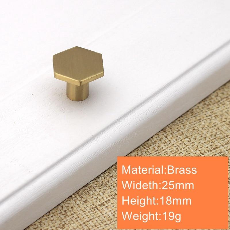 Шестигранные латунные ручки для кухонного шкафа современные ящики комод мебельные ручки шкаф Pulls-10Pack - Цвет: 18x25mm