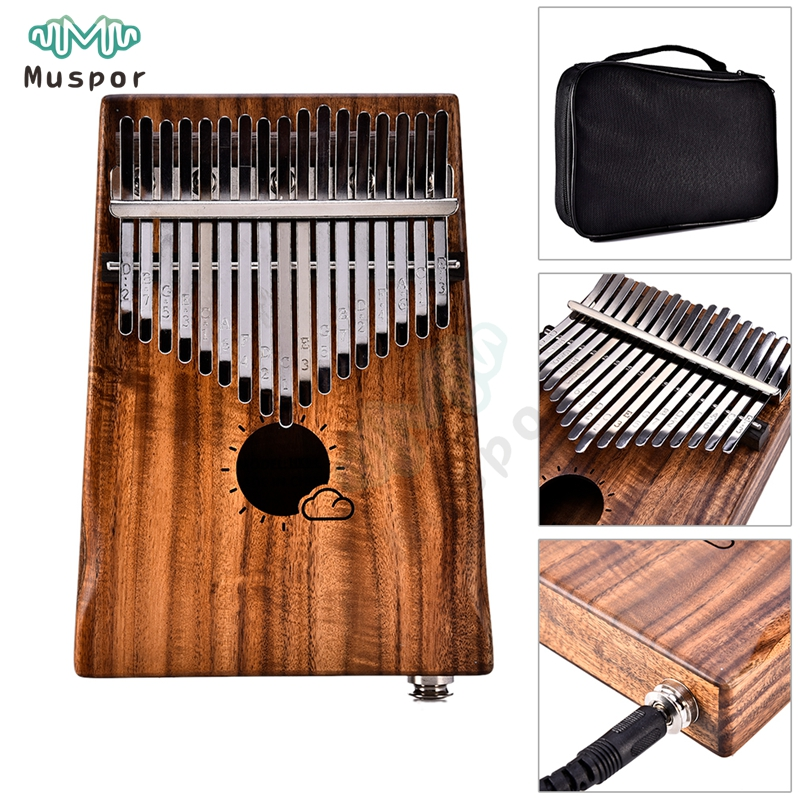 f9d401df0 17 Keys EQ kalimba Solid Acacia Thumb Piano Link Speaker Electric Pickup  with Bag Cable Sun Cloud Style
