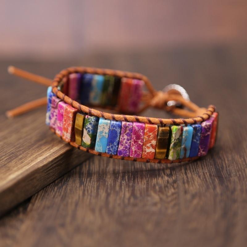 2019 Boho Women Bracelet High Quality Mix Natural Stone Leather Wrap Bracelets Vintage Bead Bracelet Handmade gift drop shipping bracelet