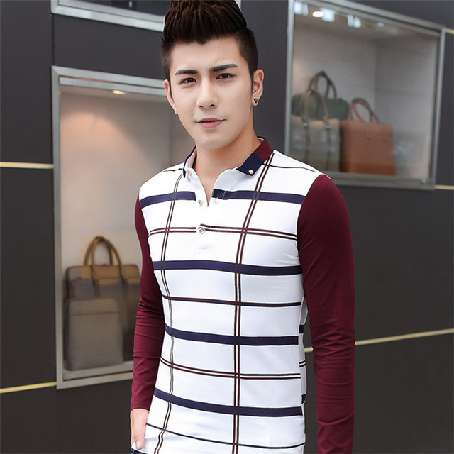 8594be20a6df Stylish Men Plaid T-Shirts Men Full Sleeve O-Neck Gold Buttons Elastic  Cotton