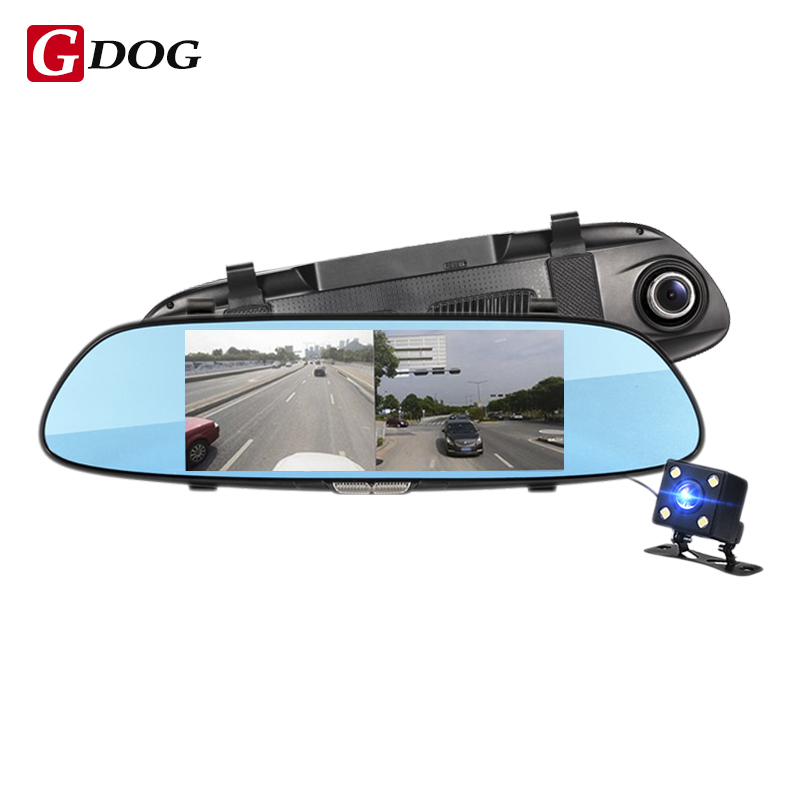 car dvr camera rear view mirror 6.5 LCD two split view display screen G-sensor motion detection loop recording parking radar diysecur 4pin dc12v 24v 7 inch 4 split quad lcd screen display rear view video security monitor for car truck bus cctv camera