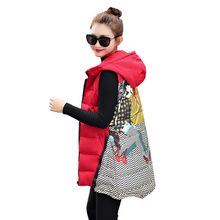 2017 Women Spring & Autumn Coats Long Down Jacket Hooded Thick Cotton Coat Warm Sleeveless Printing Vests Female Plus Size Black