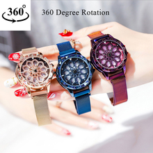360 Degree Rotation Women Watches Mesh Magnet Starry Sky Ladies Watch Luxury Geometric Quartz Wristwatch Relogio Feminino