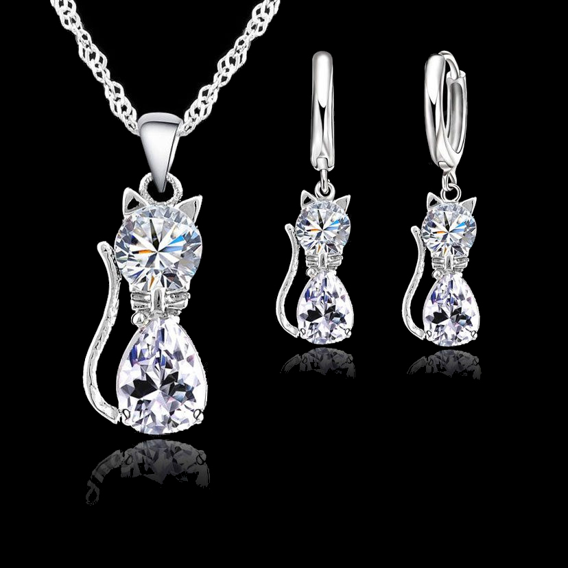 Patico wanita set perhiasan asli 925 sterling silver zirkonia kubik kucing kitty kalung liontin + anting leverback jual panas