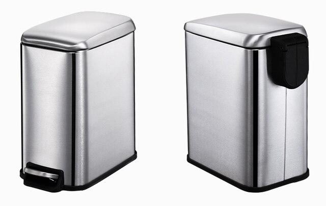 New Minimalist Foot Petal Practical Trash Can Creative Stainless Steel Waste  Bins Bedroom Bathroom Home Office