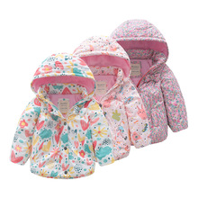 Kids Winter Coat 2018 New Fashion Cotton Warm Jackets Girls Bow-knot Detachable Hoodies Children Windproof Waterproof Outerwear