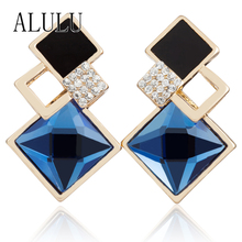 2016 Temperament Luxury Gold plated Big Square Blue Crystal Earrings For Women Pendientes Boucle d'oreille