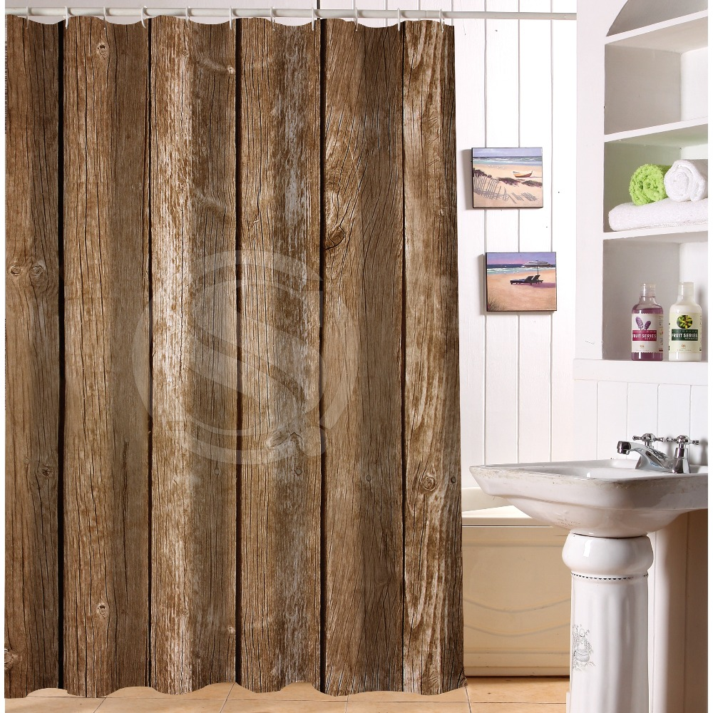 Brown bathroom shower curtains - New Bathroom Fashion Vintage Rustic Old Barn Wood Shower Curtains Waterproof And Mildew Proof With