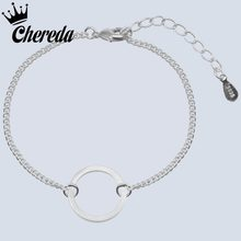 Chereda Figaro Chain Bracelets Hollow Round Jewelry 925 Sltering Silver Women Men Bracelet Circle Wedding Party Present(China)