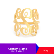 Custom Monogram 3 Initials RIngs For Women Stainless Steel Personalized Custom Statement Name Ring Anillos  Jewelry Accessories