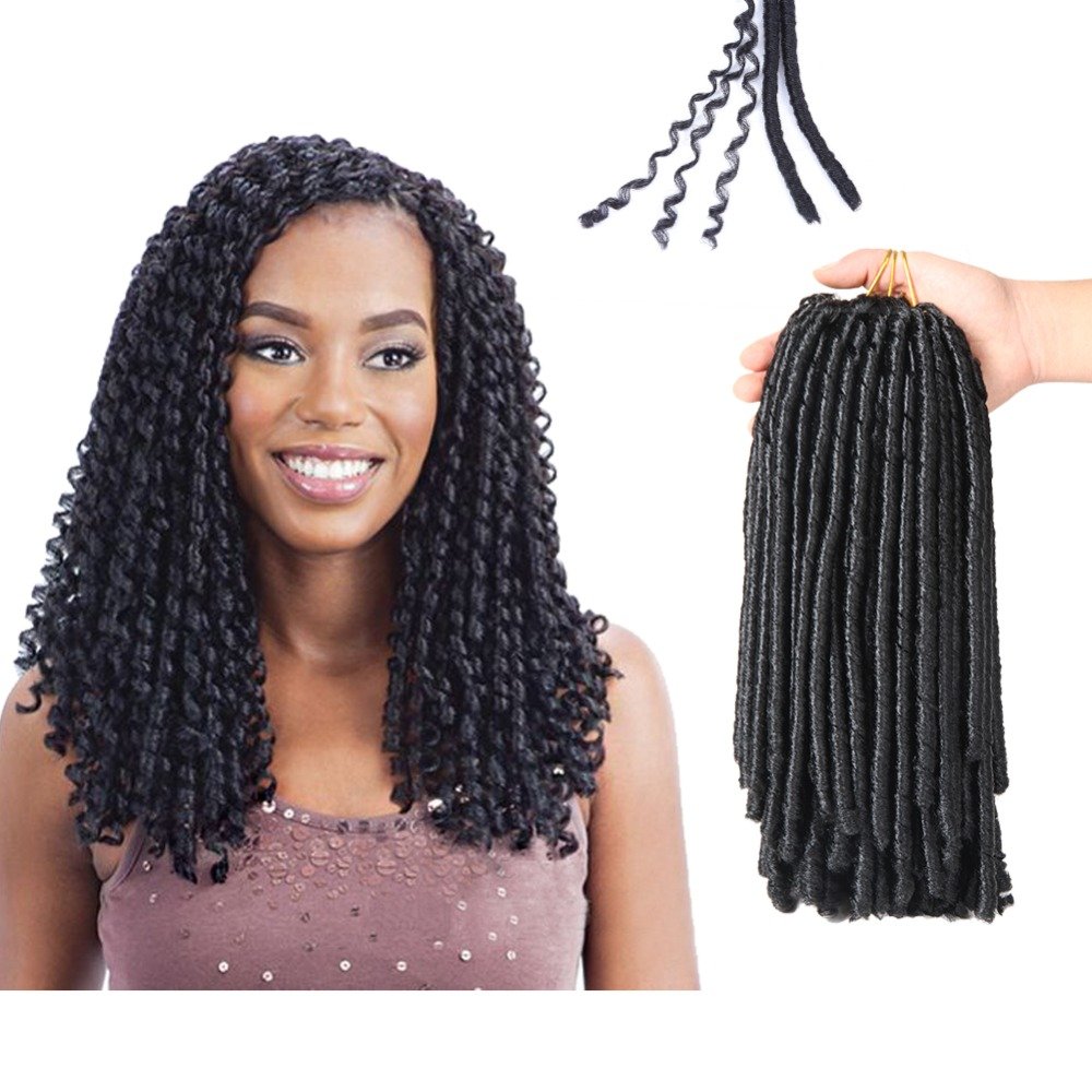 SAMBRAID Soft Dreadlocks Crochet Braids 14 Inches Synthetic Braiding Hair 30 Roots Crochet Hair Extensions For Women