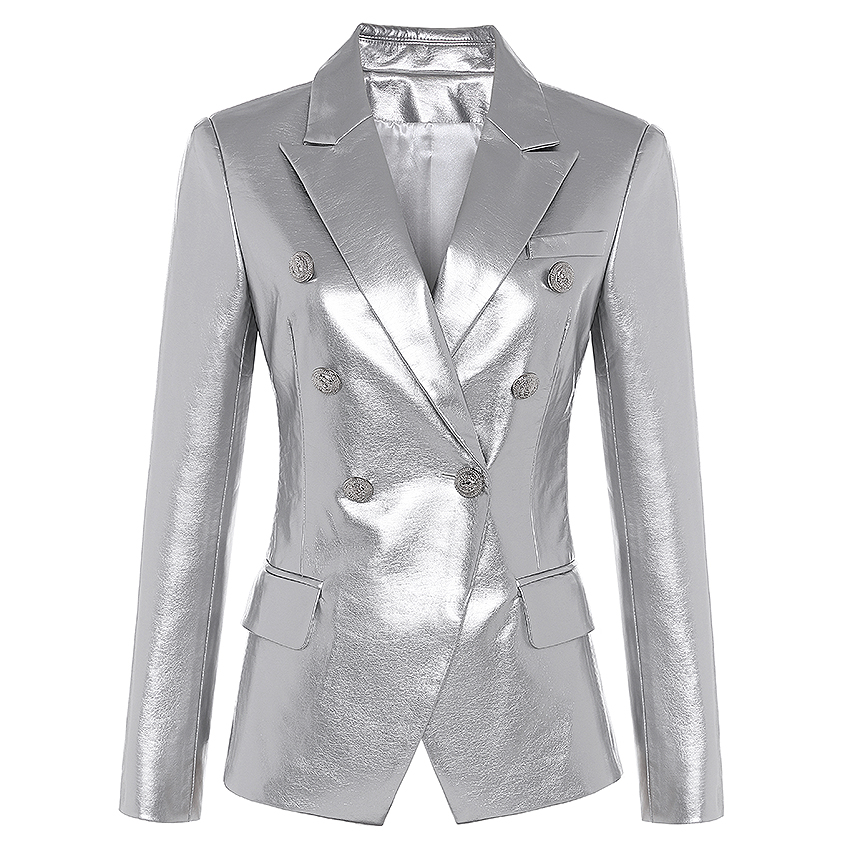 Newest Fall Winter 2019 Designer Blazer Jacket Women s Lion Metal Buttons Double Breasted Synthetic Leather