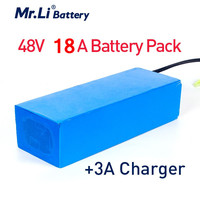 Mr.Li 48V 18A Rechargeable 18650 Lithium Battery Pack Built in 50A BMS Lithium Battery 1000W with EU/US 54.6V 3A charger