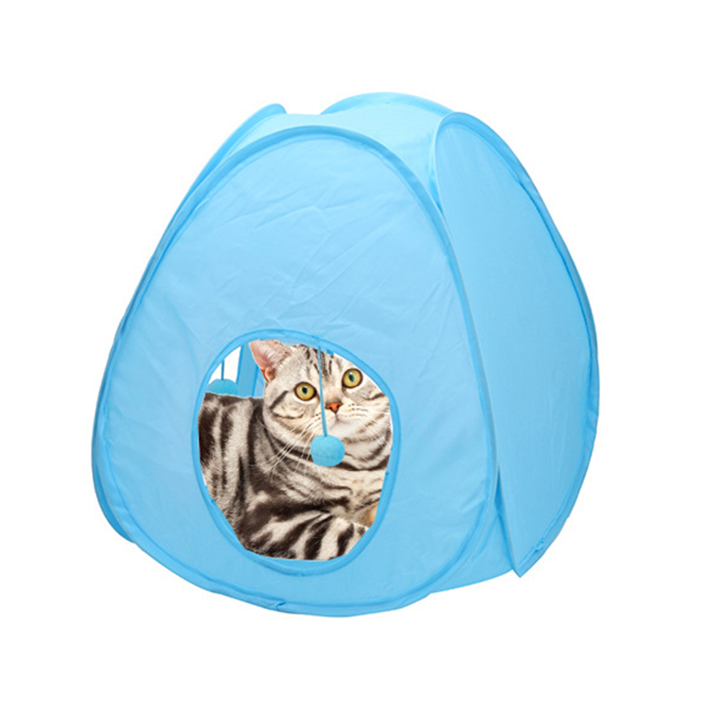 Petacc Pet Tent Collapsible Cat Tunnel Cat Toy with Interior Hanging Balls