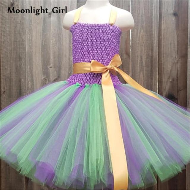 Us 18 57 40 Off Kids Purple Green Ariel Mermaid Princess Dress Girls Tutu Dress Bow Birthday Party Dresses For Girl Halloween Costume Bg036 In