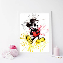 Mickey Mouse Awesome Emotions Minimalist Watercolor Art Canvas Poster Painting Wall Picture Print Nursery Home Bedroom Decor HD