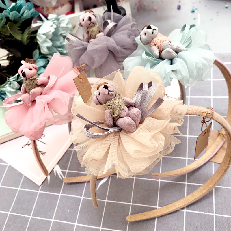 2017 Lace flower Bear doll Crown Hairbands Gauze Hair accessories for girl lovely hair bands hoop Cartoon Princess Headband bows