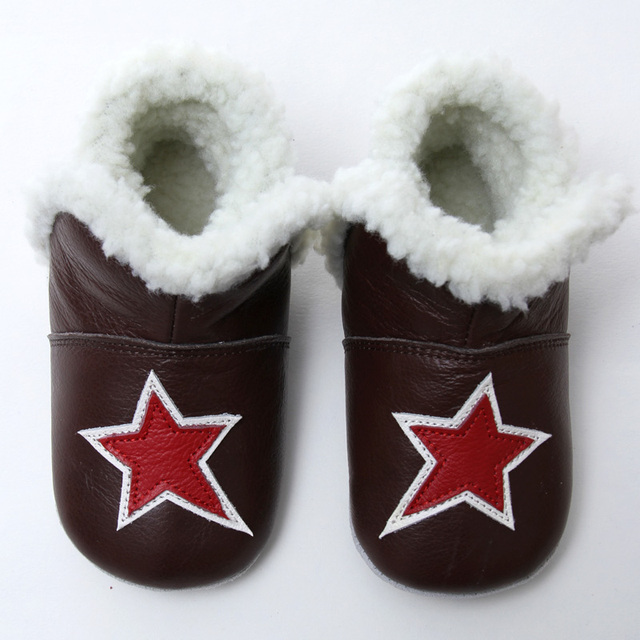 Leather Baby Boots Winter Snow Boots Baby for Girl Warm Baby Boot Boys Snow Boots Shoes for Kids 0-24m Soft Infant Booties Star