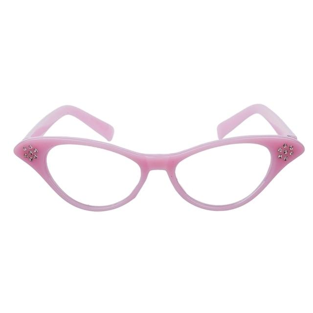 Rosa 50's Graxa Senhoras Óculos de Rock And Roll do Vestido Extravagante