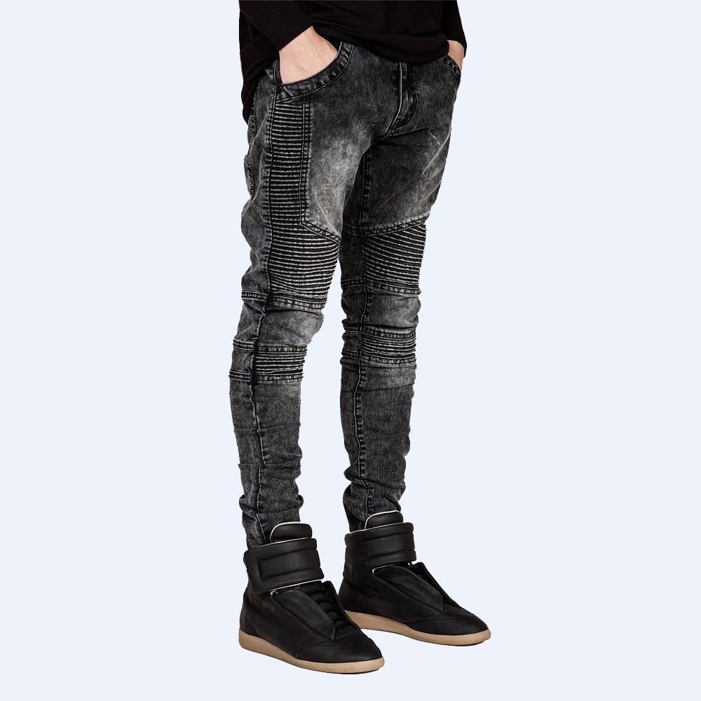 2016 Men Skinny Jeans Design Fashion Biker Strech Jeans For Men Snow Wash Jeans E5017