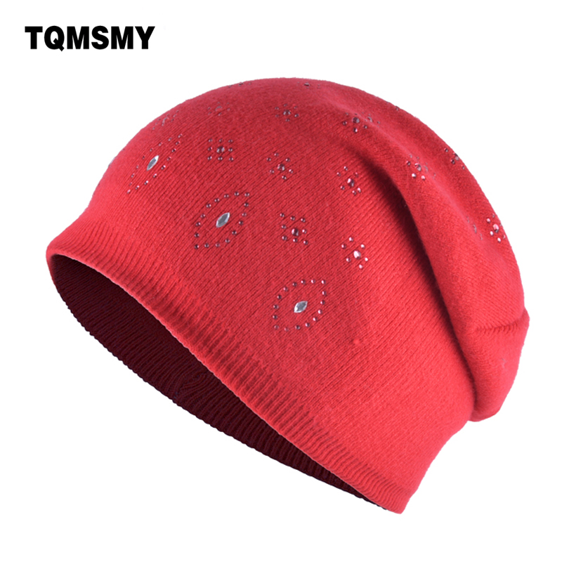 TQMSMY Winter hats for women Beanies girls diamonds bone woman's autumn Beanie russia skullies Knitted rabbit hair hat gorros 2017 new lace beanies hats for women skullies baggy cap autumn winter russia designer skullies