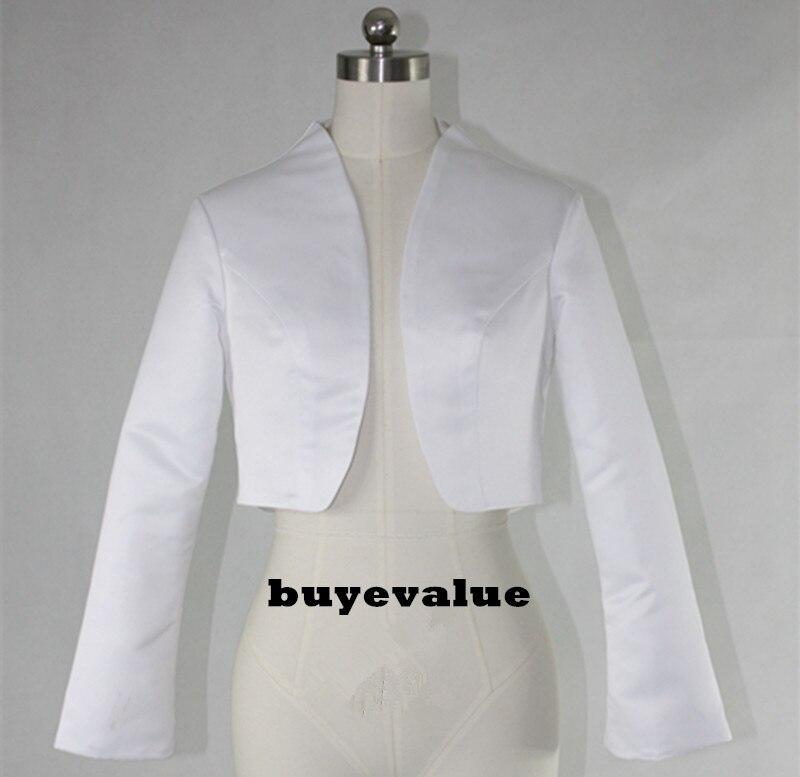 White Black Shawl Bolero Wedding Jacket Bridal Shrug Wraps Long Sleeve Satin  Custom T44 05e0b07767e1