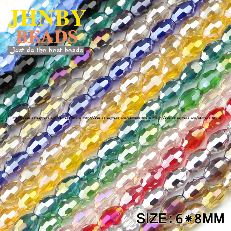 JHNBY AAA Rice Grains Austrian Crystal Beads 50pcs 6*8mm Oval Shape Glass Crystal Loose Beads For Jewelry Making Bracelet DIY
