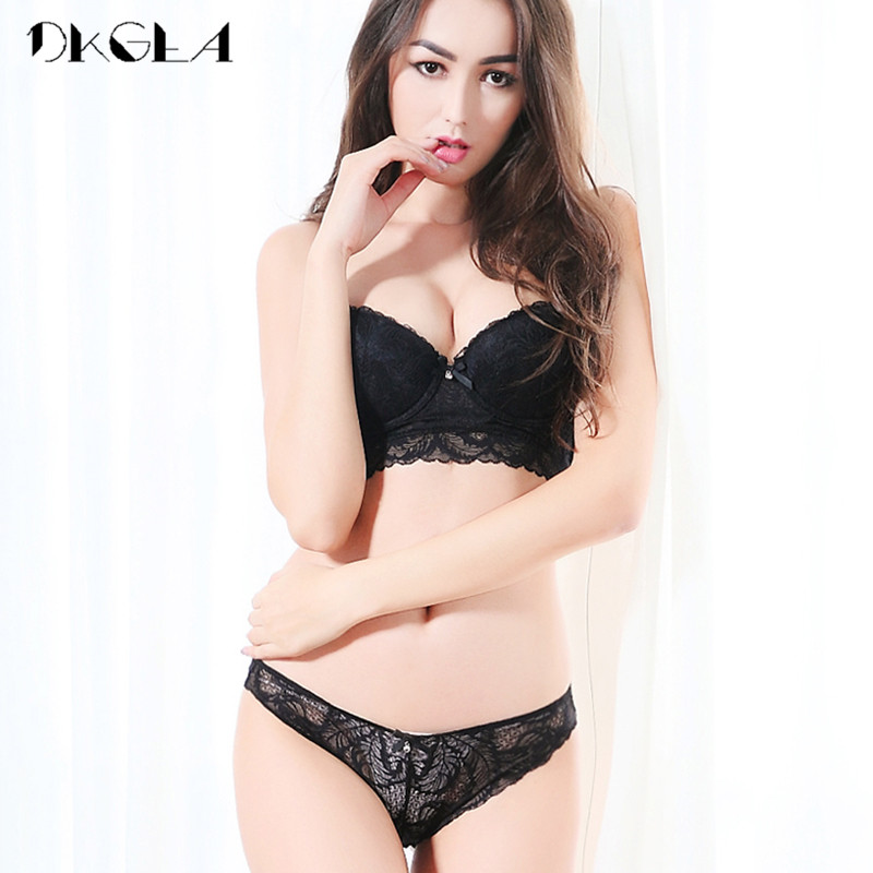 Buy 2018 Black Sexy Bra Panties Sets Brand Lingerie Lace Brassiere Deep V Push Bras Thin Cotton Underwear Women Set Embroidery