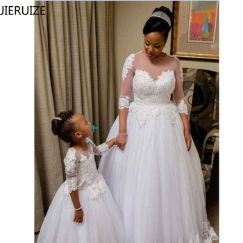 JIERUIZE White Lace Appliques Ball Gown Wedding Dresses 3/4 Sleeves Beaded Bride Dresses Cheap Wedding Gowns robe mariee
