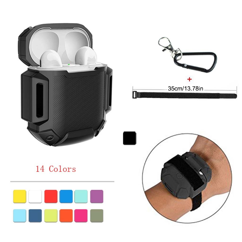 Disciplined Silicone Gym Sports Running Armband Case Cover Skin With Carabiner For Airpods