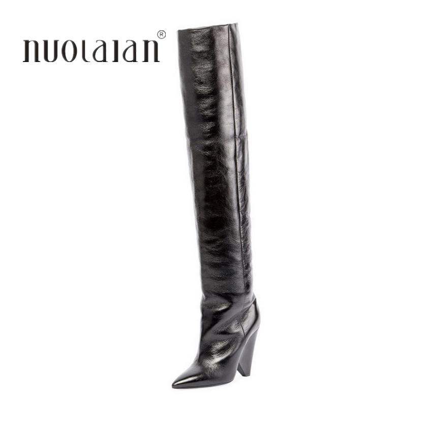 2018 Women Over The Knee Boots Sexy leather Thigh High Boots High Heel Women Shoes Winter Warm Long Motorcycle Boots e toy word autumn winter boots women over knee thigh high boots women flats long boots low heel suede leather women shoes