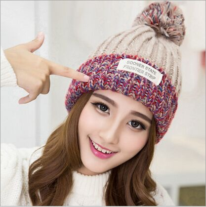 Fashion 2015 Autumn And Winter Hat Hot Selling The Knitting Ball Wool Cap Beanie Casual Cap For Women Free Shopping wuhaobo the new arrival of the cashmere knitting wool ladies hat winter warm fashion cap silver flower diamond women caps