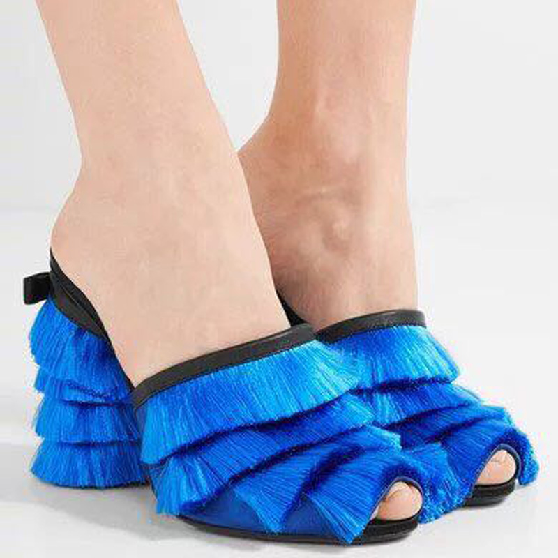 Новый Стиль Женщин Мода Бахрома Украшение Сандалии Женщины Высокий Каблук Тапочки Дамы Кисточкой Открытым Носком Сандалии Тапочки