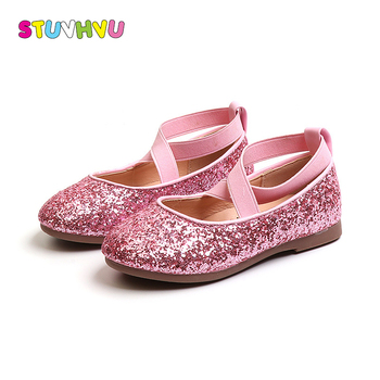 Kids shoes for girls sequins princess shoes spring autumn fashion little girl students dance non-slip flat shoe pink gold silver