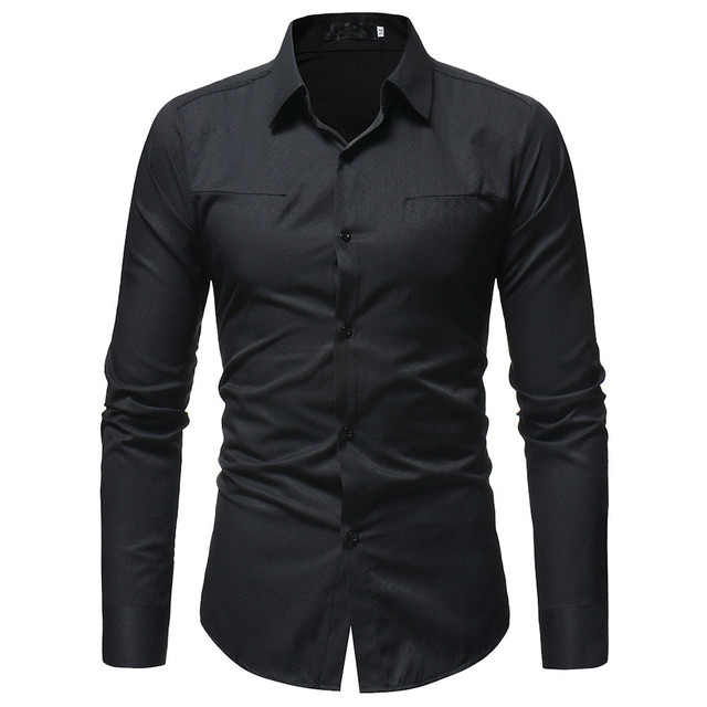 New Men Spring Autumn Casual Cotton Blend Shirt Fashion Solid Color Male Casual Long Sleeve Turn Down Collar ShirtT Shirt Men 3
