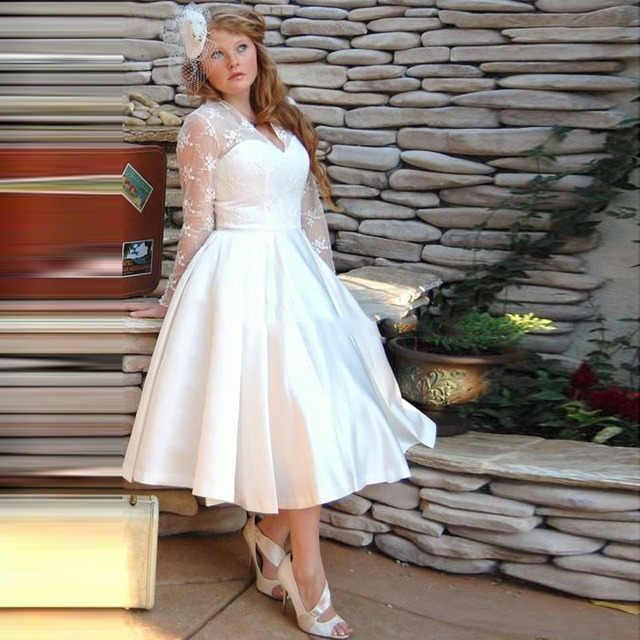 Wedding Dresses With Sleeve V Neck Vestido De Noiva 2016 Lace Appliques Wedding Dress Robe De Mariage Midi Bridal Gowns