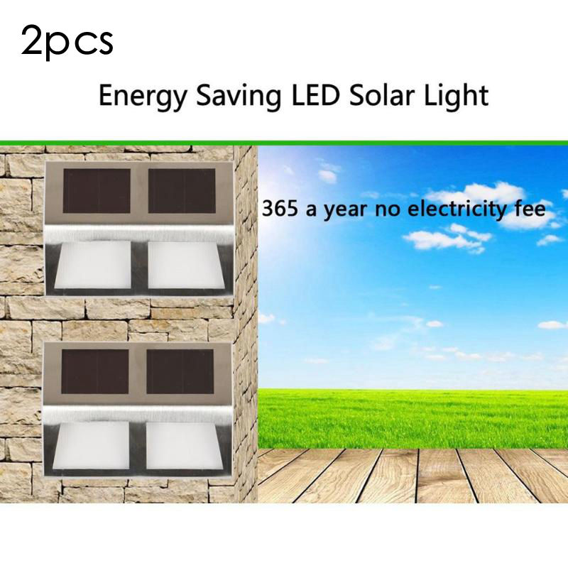 2pcs LED Solar Wall Lamps 4 LED Waterproof Sensor Infrared Lamp Outdoor/Indoor Garden Yard Fence Path Emergency Night Light updated version 16 leds solar light 4pcs motion sensor wall lamp waterproof outdoor garden yard path fence emergency lightings