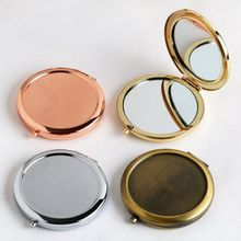 Round Mirror Compact Gift Rose-Gold-Color Magnifying Blank Plain for DIY with Sticker