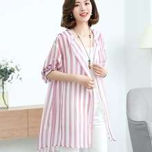 Woman fashion 2019 long shirt pink casual striped shirts high quality hooded long sleeve blouse ladies top plus size tunic недорого