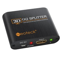 1x2 2 Output 1 Input HDMI Distributor Splitter With Amplifier For 3D HDTV SKY HD PS3