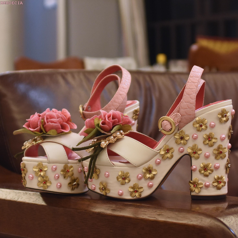 Pink flower chic jewelry platform high heel sandals cute pearl stitching drill line cross-shaped wedding shoes peep toe sandals